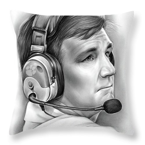 Clemson Throw Pillow featuring the drawing Tommy Bowden by Greg Joens