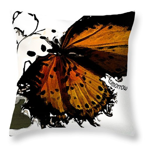 Woman Throw Pillow featuring the digital art Tomorrow I Will Be by Shelley Jones