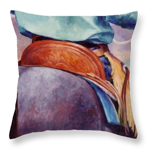 Saddle Throw Pillow featuring the painting Toms Saddle Western Painting Cowboy Art by Kim Corpany