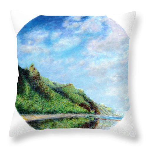 Coastal Decor Throw Pillow featuring the painting Tondo by Kenneth Grzesik