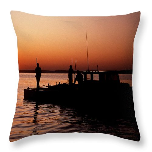 Maritime Throw Pillow featuring the photograph Tonger's Sunrise by Skip Willits