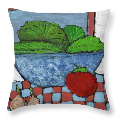 Food Throw Pillow featuring the painting Tonight's Salad by Wayne Potrafka