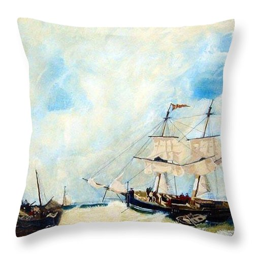 Sailing Throw Pillow featuring the painting Too Close To Shore by Richard Le Page