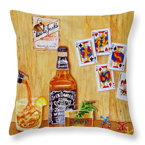 Jack Daniels Throw Pillow featuring the painting Too Many Jacks by Karen Fleschler
