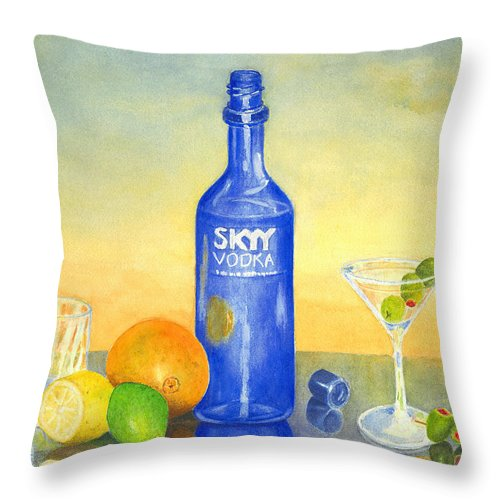 Vodka Throw Pillow featuring the painting Too Many Skies by Karen Fleschler