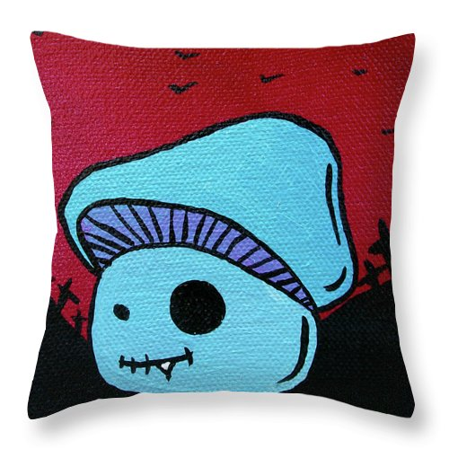 Zombie Throw Pillow featuring the mixed media Toothed Zombie Mushroom 2 by Jera Sky