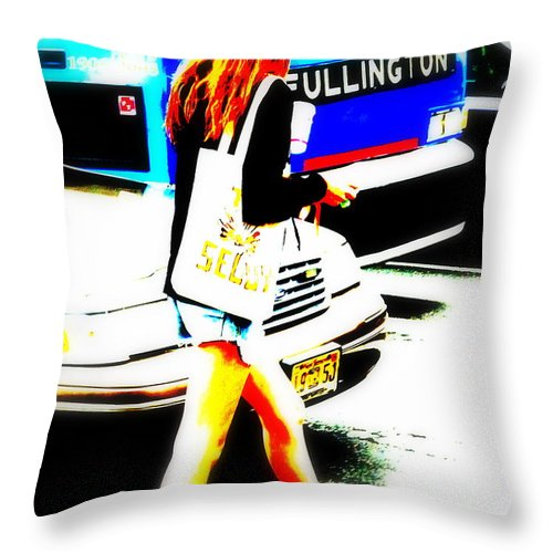 new York Throw Pillow featuring the photograph Top Model In Manhattan by Funkpix Photo Hunter