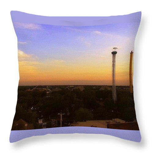 Ferris Wheel Throw Pillow featuring the photograph Top Of The Ferris Wheel by Hayley Allard