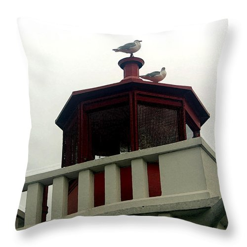 Lighthouse Throw Pillow featuring the photograph Top Of The Light by Mary Haber
