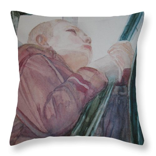 Boy Throw Pillow featuring the painting Top Of The Lighthouse Stairs by Jenny Armitage