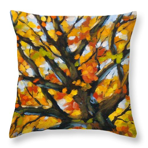 Art For Sale; Original Painting; Prankearts; Landscape; Birches; Trees; Nature; Richard T Pranke; Throw Pillow featuring the painting Top Of The Maples by Richard T Pranke