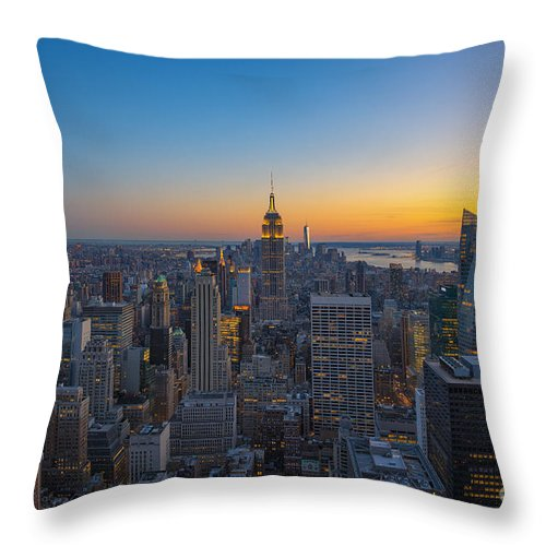 Nyc Sunset Throw Pillow featuring the photograph Top Of The Rock At Sunset by Michael Ver Sprill