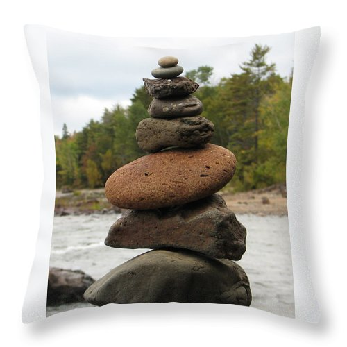 Rocks Throw Pillow featuring the photograph Top Of The Stack by Kelly Mezzapelle
