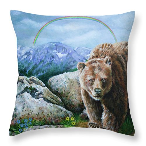 Bears Throw Pillow featuring the painting Top Of The World by Karl Wagner