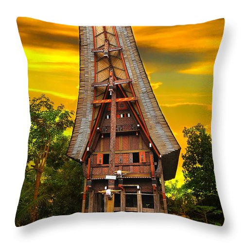 Toraja Throw Pillow featuring the photograph Toraja Architecture by Charuhas Images