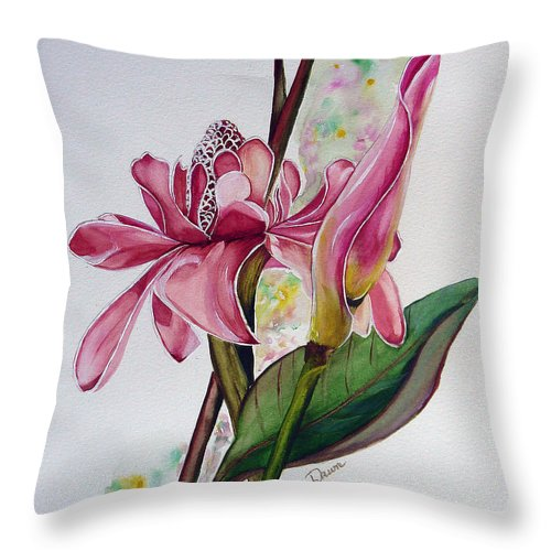 Flower Painting Floral Painting Botanical Painting Flowering Ginger. Throw Pillow featuring the painting Torch Ginger Lily by Karin Dawn Kelshall- Best