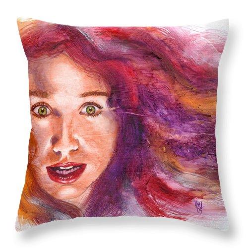 Musicians Throw Pillow featuring the painting Tori Rainbow by Ken Meyer jr