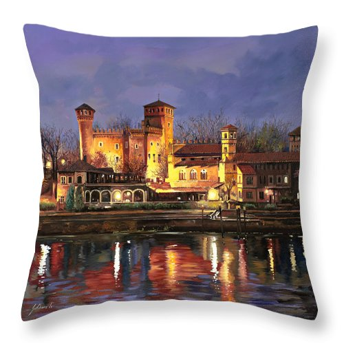 Castle Throw Pillow featuring the painting Torino-il Borgo Medioevale Di Notte by Guido Borelli