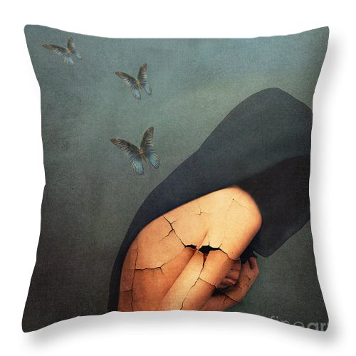 Emotive Throw Pillow featuring the painting Torment by Jacky Gerritsen