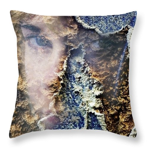Female Throw Pillow featuring the photograph Torn by Skip Hunt