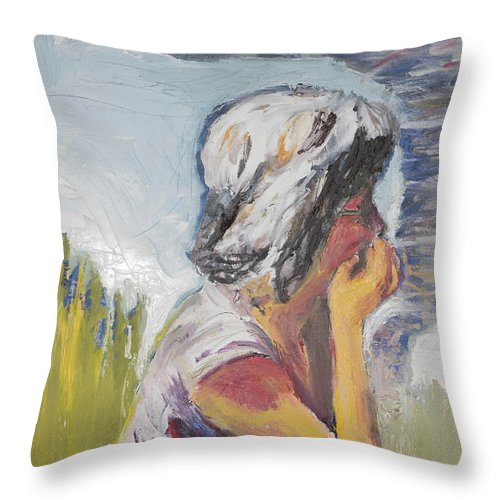 Tornado Throw Pillow featuring the painting Tornado Girl by Craig Newland