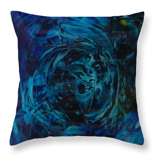 Abstractpaintings Throw Pillow featuring the painting Tornado In Blue by Albert Kutzelnig