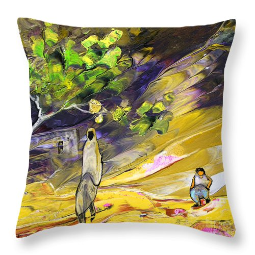 Tornado Throw Pillow featuring the painting Tornado by Miki De Goodaboom