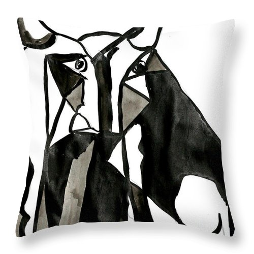 Bull Picasso Berlato Black White Abstract Throw Pillow featuring the drawing Toro by Jorge Berlato
