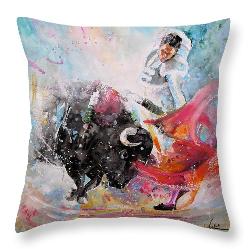 Animals Throw Pillow featuring the painting Toro Tempest by Miki De Goodaboom