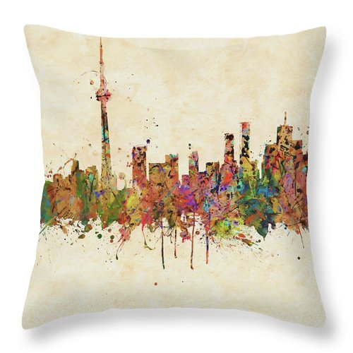 Toronto Colorful Skyline Throw Pillow For Sale By Dan Sproul