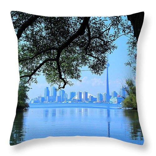 Cn Tower Throw Pillow featuring the photograph Toronto Framed by Ian MacDonald