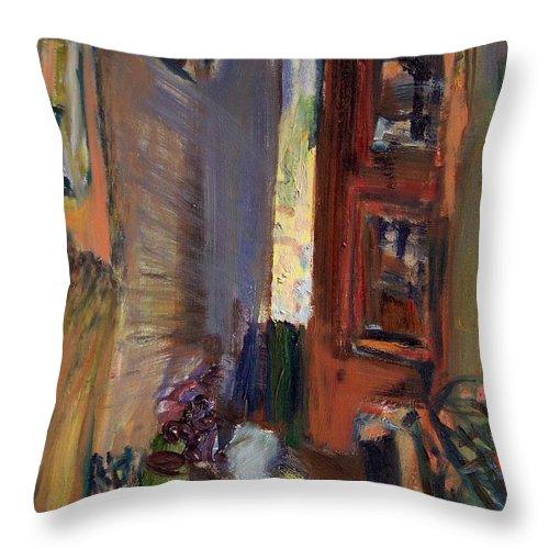 Dornberg Throw Pillow featuring the painting Toronto Houses by Bob Dornberg