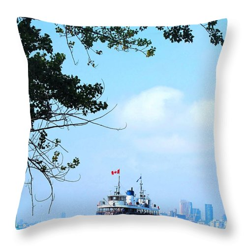 Ferry Throw Pillow featuring the photograph Toronto Island Ferry by Ian MacDonald