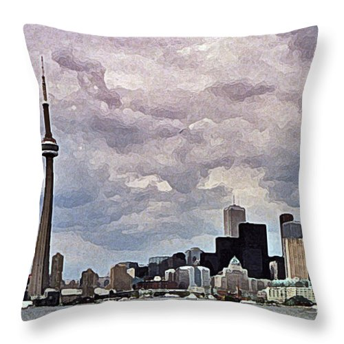 Canada Throw Pillow featuring the digital art Toronto Skyline by Colette Panaioti
