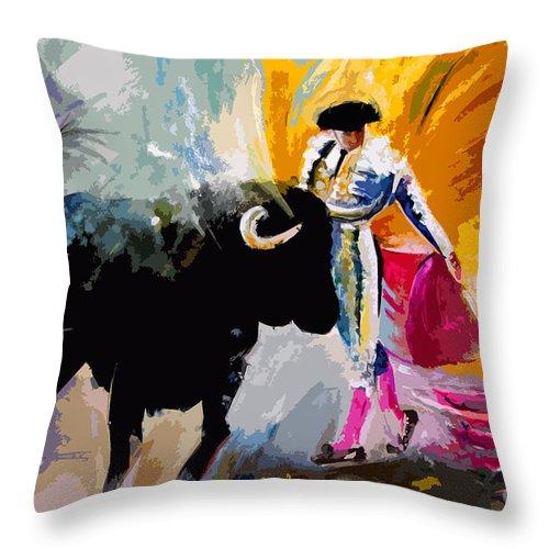 Toros Throw Pillow featuring the mixed media Toroscape 03 by Miki De Goodaboom