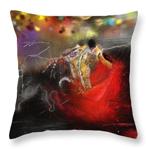 Animals Throw Pillow featuring the painting Toroscape 18 by Miki De Goodaboom