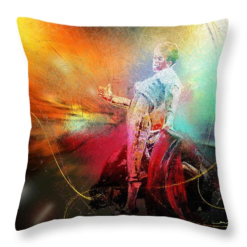 Animals Throw Pillow featuring the painting Toroscape 25 by Miki De Goodaboom