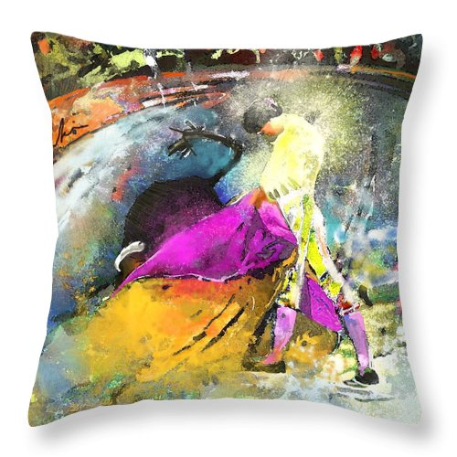 Animals Throw Pillow featuring the painting Toroscape 28 by Miki De Goodaboom