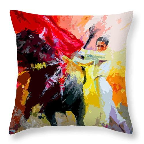 Animals Throw Pillow featuring the painting Toroscape 41 by Miki De Goodaboom