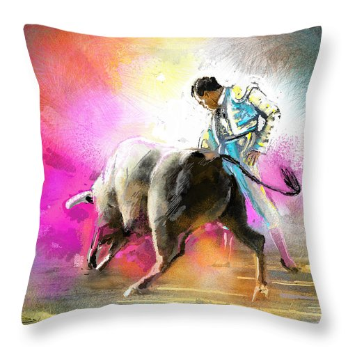 Animals Throw Pillow featuring the painting Toroscape 44 by Miki De Goodaboom