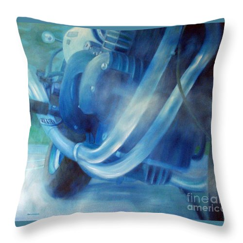 Motorcycles Throw Pillow featuring the painting Torque Triple - Triumph Thunderbird Sport by Brian Commerford