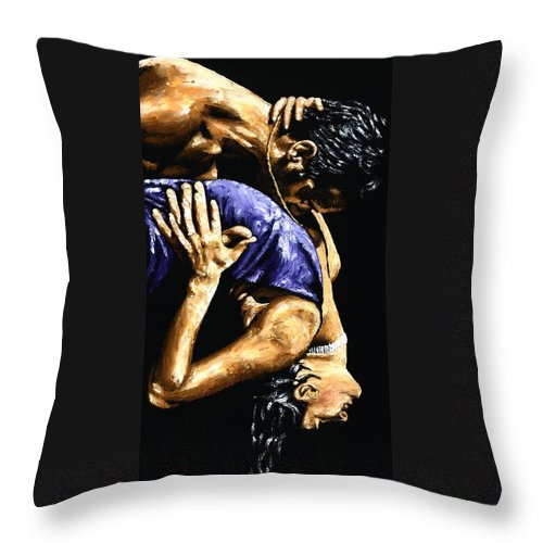 Tango Throw Pillow featuring the painting Torrid Tango by Richard Young