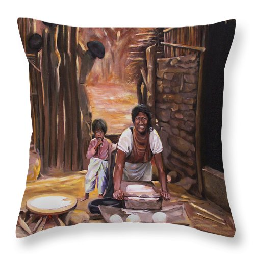 Mexican Throw Pillow featuring the painting Tortillas De Madre by Nancy Griswold