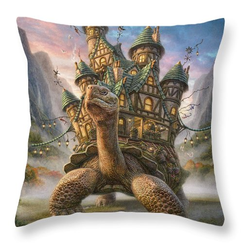Tortoise Throw Pillow featuring the mixed media Tortoise House by Phil Jaeger