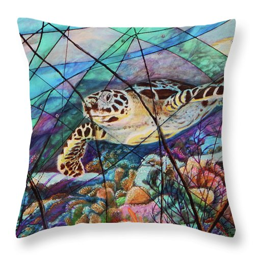 Tortuga Carey Throw Pillow featuring the painting Tortuga carey cropped by Angel Ortiz