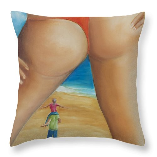 Thong Throw Pillow featuring the painting Total Happiness by Marcel Quesnel