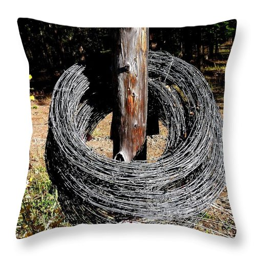 Barbed Wire Throw Pillow featuring the photograph Totally Wired by Will Borden