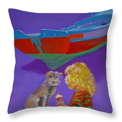Blonde Throw Pillow featuring the painting Toto by Charles Stuart