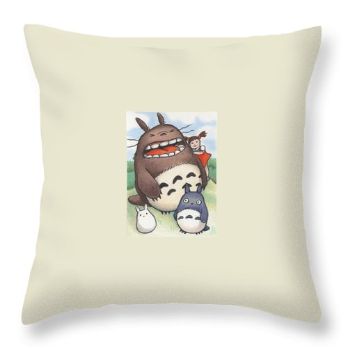 Atc Throw Pillow featuring the drawing Totoro And Friends After Hayao Miyazaki by Amy S Turner