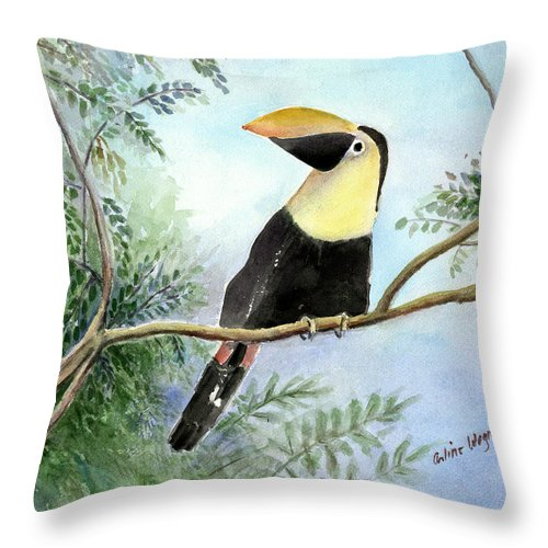 Toucan Throw Pillow featuring the painting Toucan by Arline Wagner